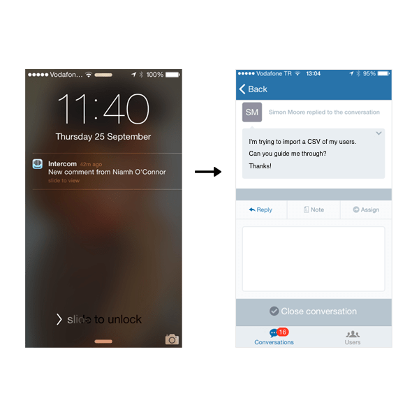 signposts notifications on iOS and Android notifications screens
