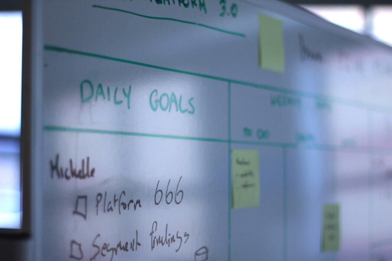 Whiteboard with daily goals