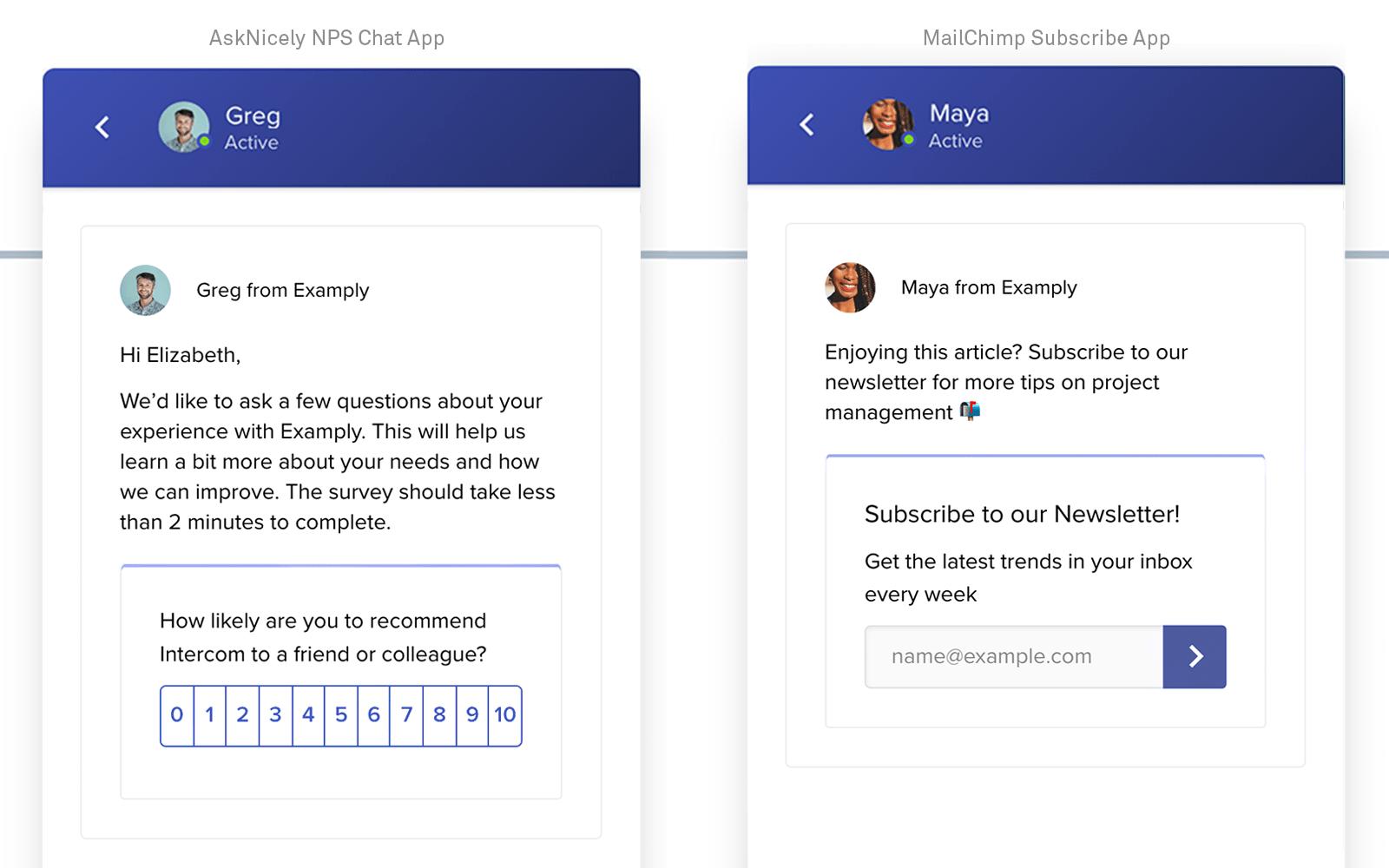 AskNicely MailChimp Intercom Apps