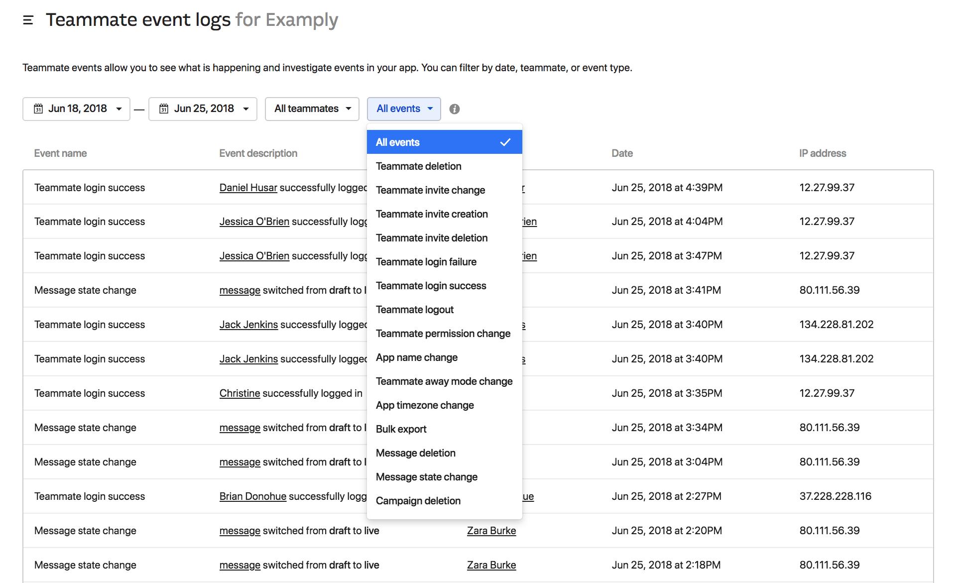 Intercom Events log