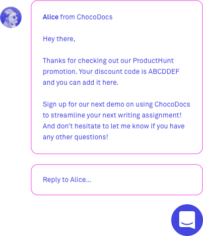 live chat messages for marketing