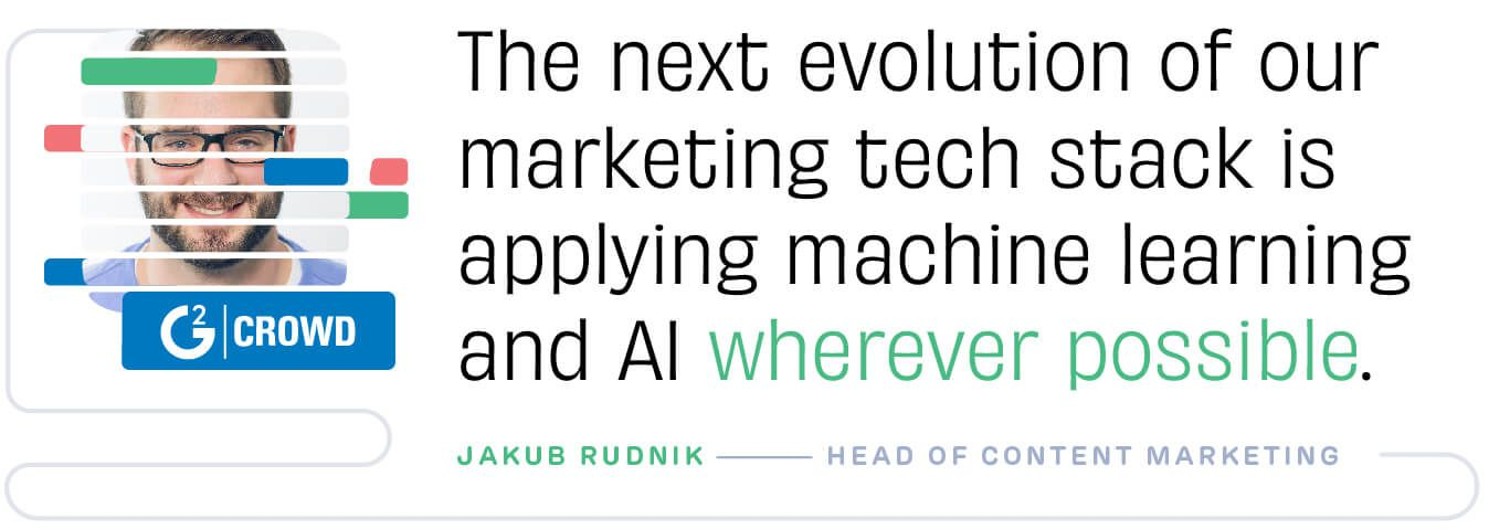 The next evolution of our marketing tech stack is applying maching learning and AI wherever possible. Jakub Rudnik, G2 Crowd
