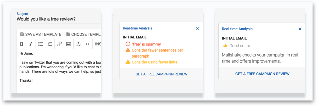 Mailshake's email analyzer