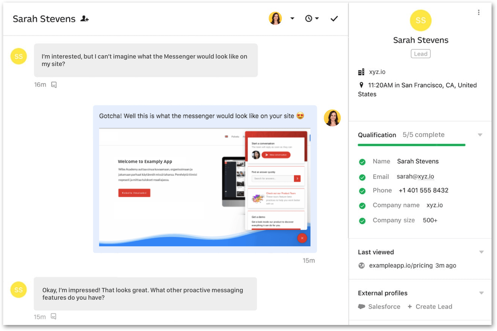 Example Messenger - Storytelling in live chat