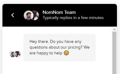 NomNom pricing message