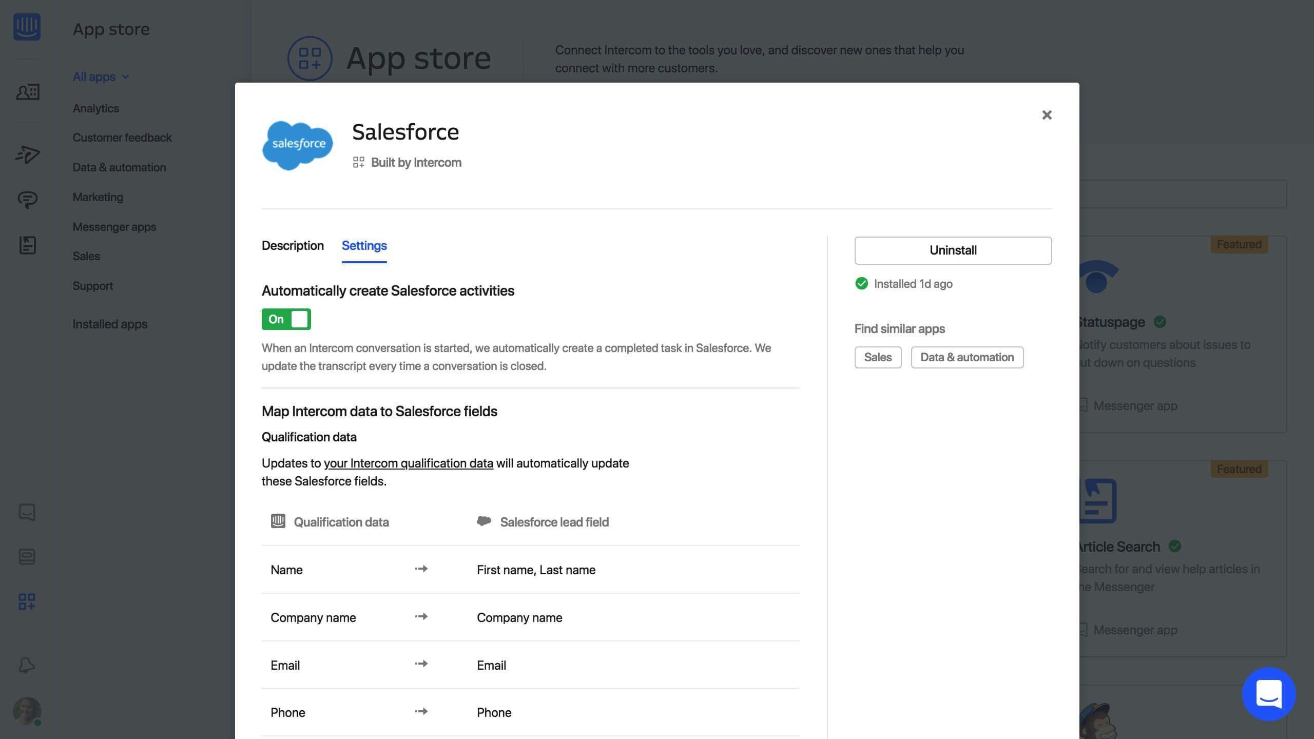 Salesforce App for Intercom