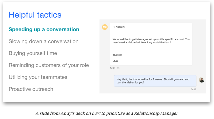 A slide from Andy's deck on how to prioritize as a Relationship Manager