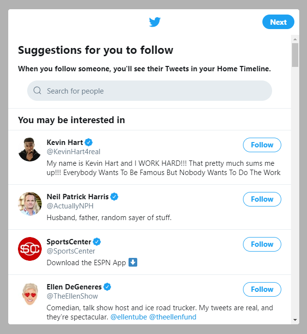 Twitter user onboarding suggestions