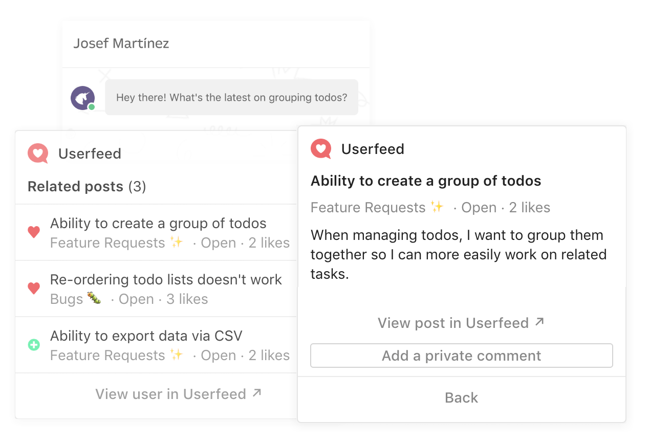 Intercom Userfeed app for Inbox