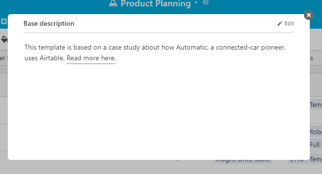 Airtable product planning table