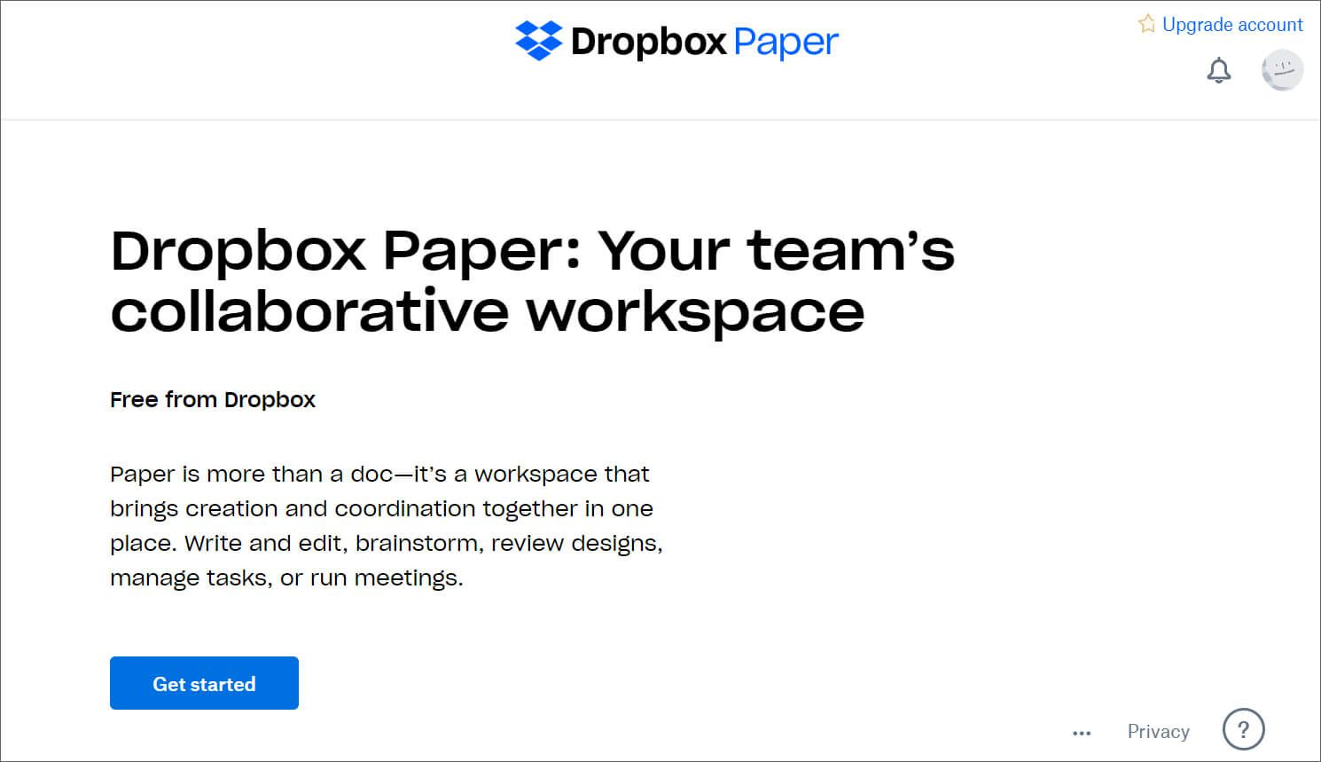 Dropbox Paper welcome page