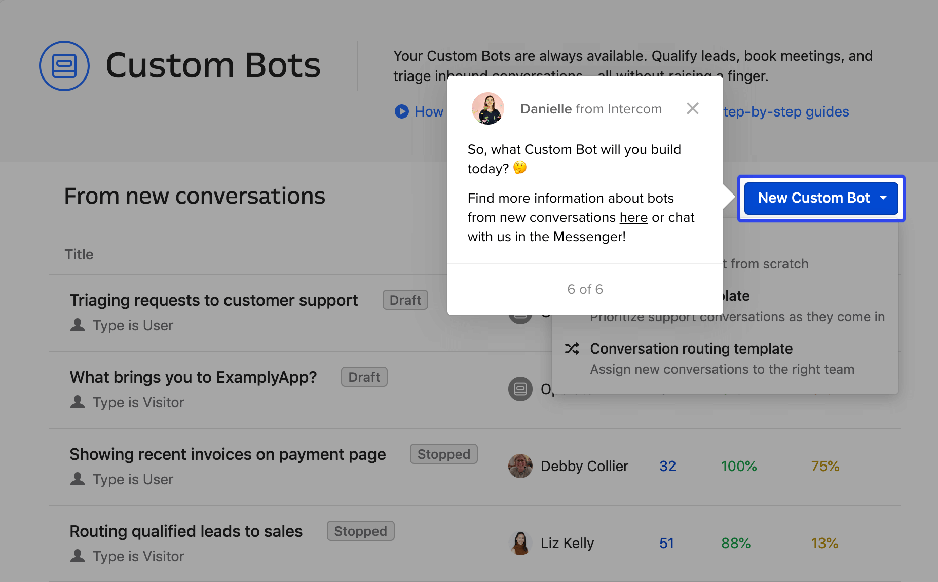 An example of how we share articles in Product Tours – in this case, onboarding customers to Custom Bots.
