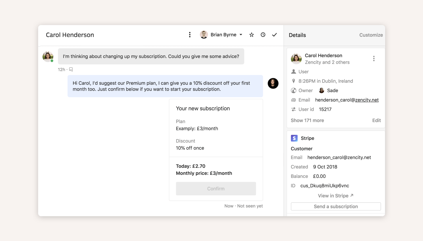 With apps like Stripe right in the Intercom Inbox, our reps can work with leads more efficiently.