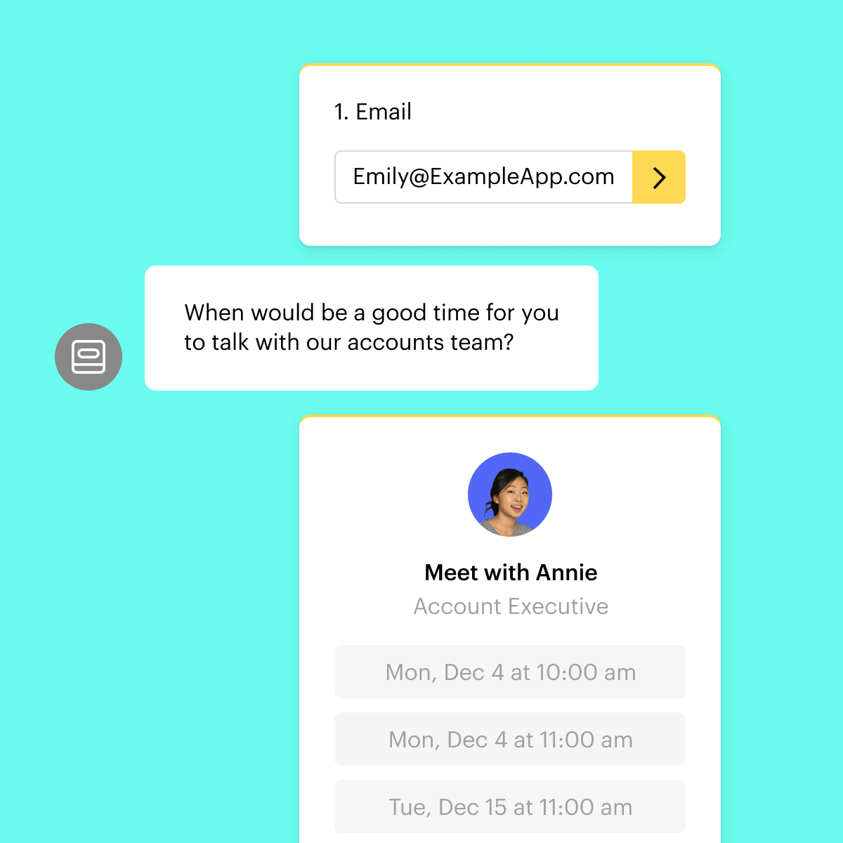 Intercom chatbots can invite leads to book meetings directly.