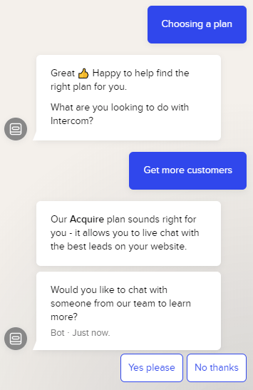Intercom's pricing chatbot