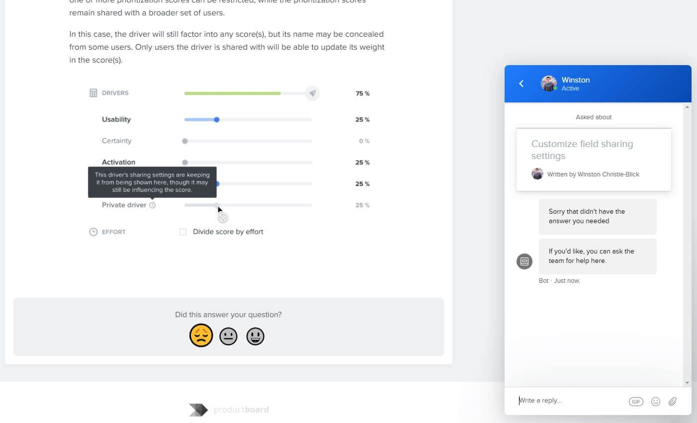 If a customer doesn't get the information they need from the productboard knowledge base, the Intercom task bot will immediately connect that customer with the support team.