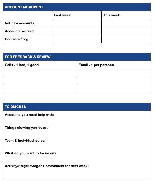 Sales coaching data sheet