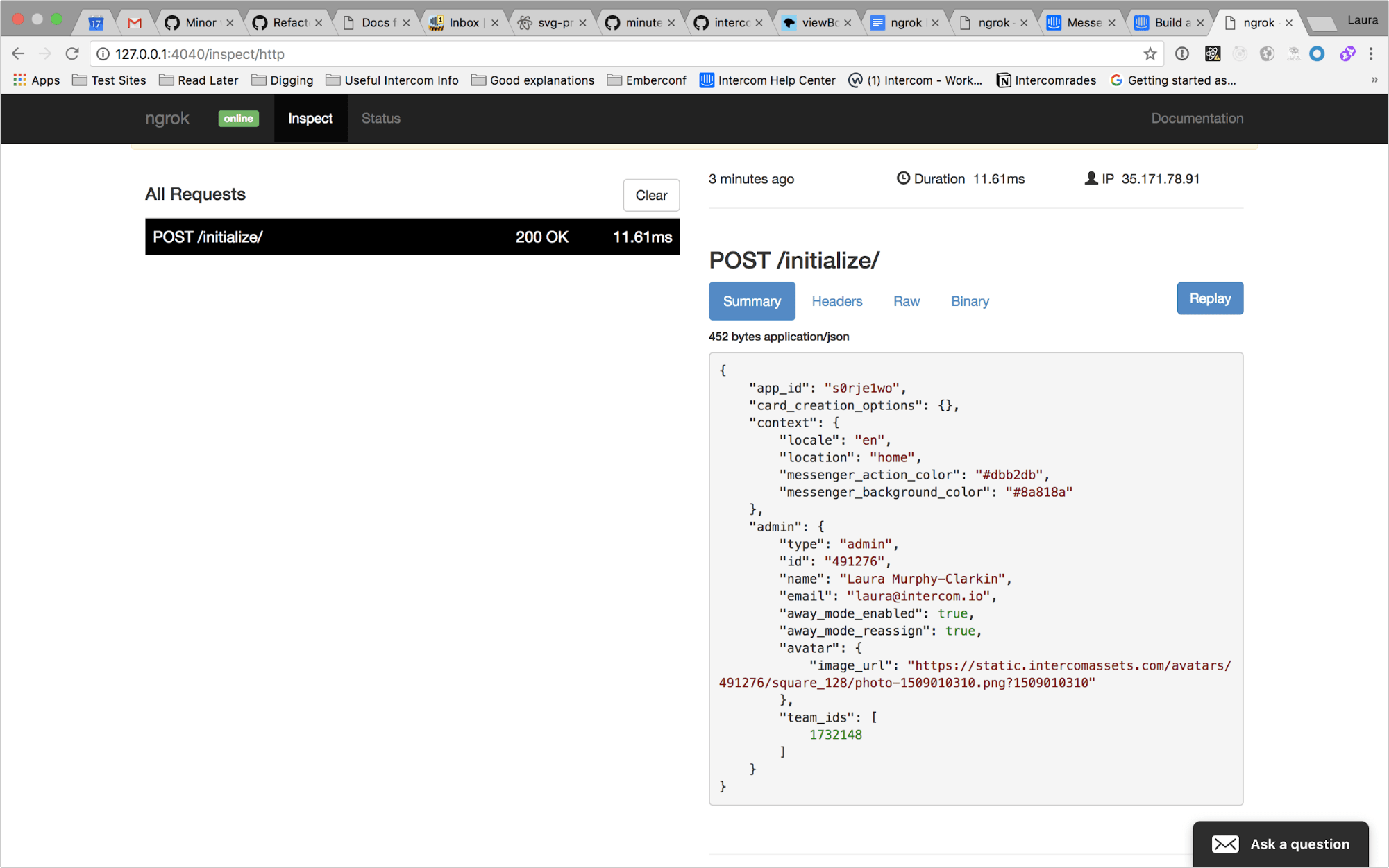 ngrok web interface response
