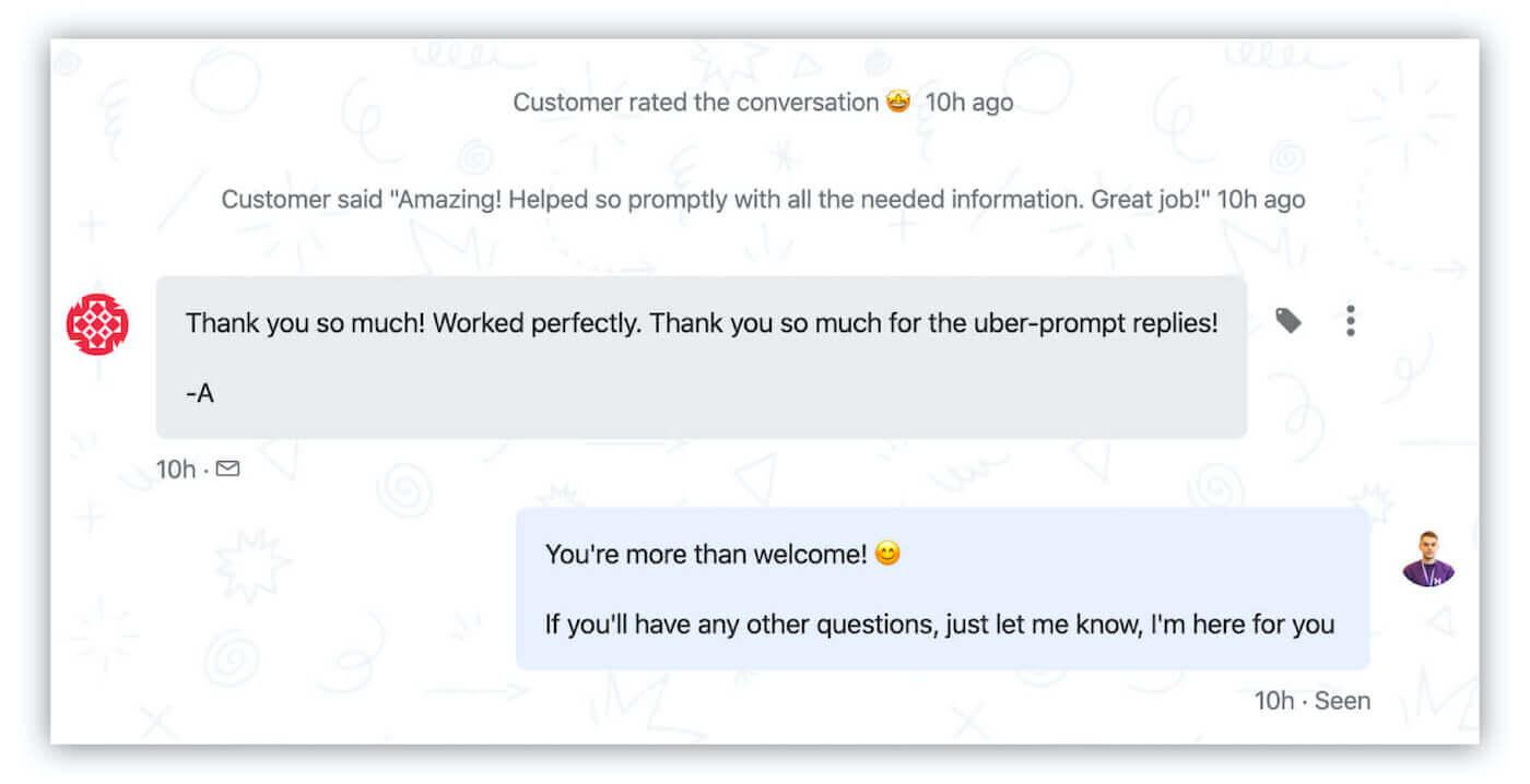 Positive customer feedback in Intercom