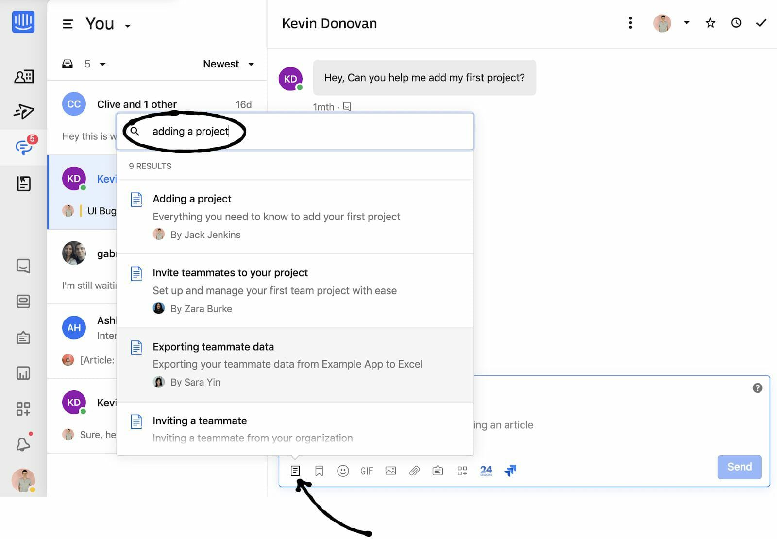 Help article suggestions in Intercom
