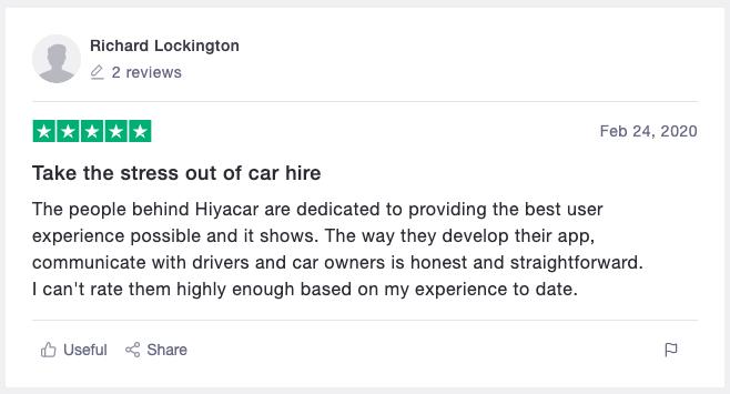 Hiyacar positive customer review