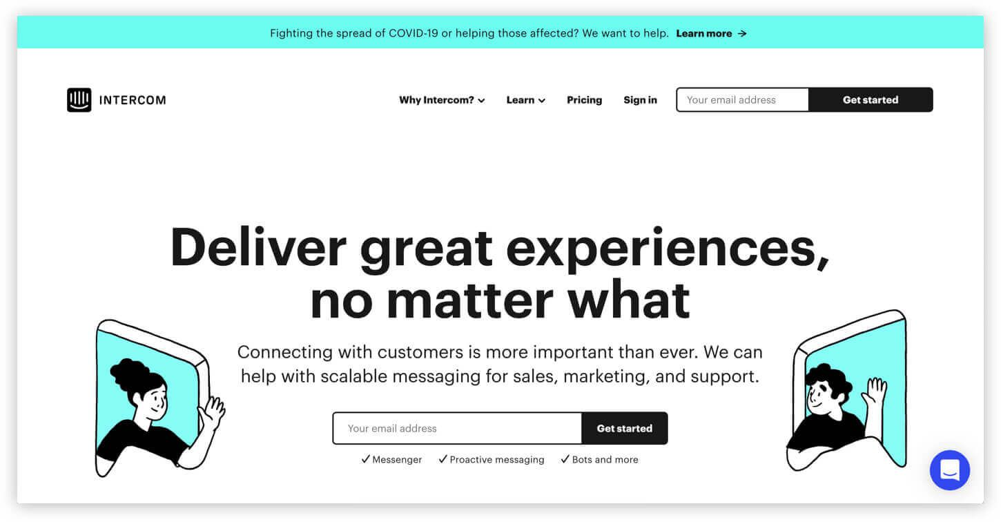 Intercom homepage