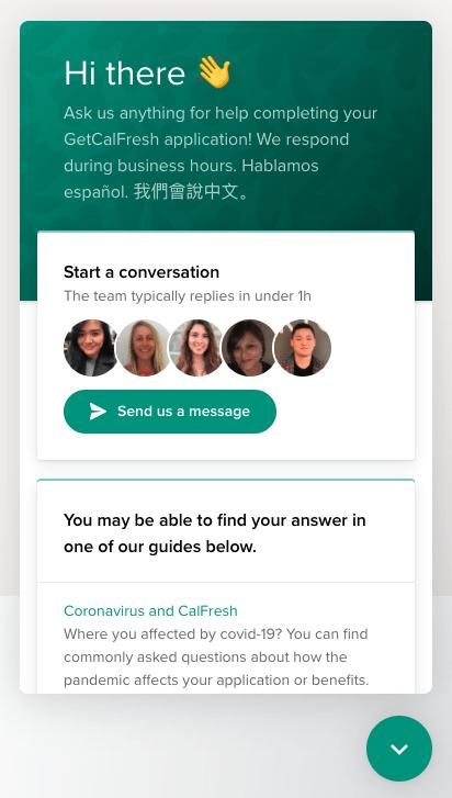 GetCalFresh Intercom Messenger