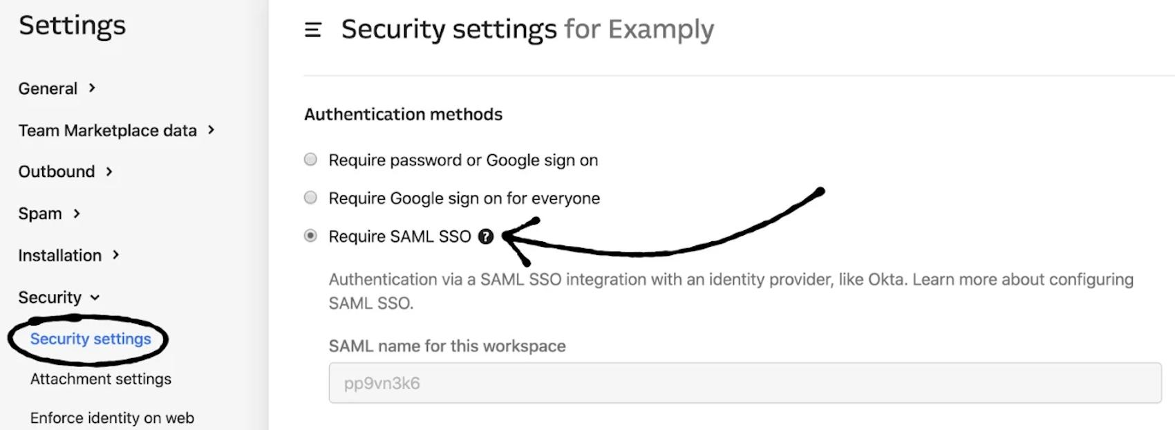 SAML SSO settings in Intercom