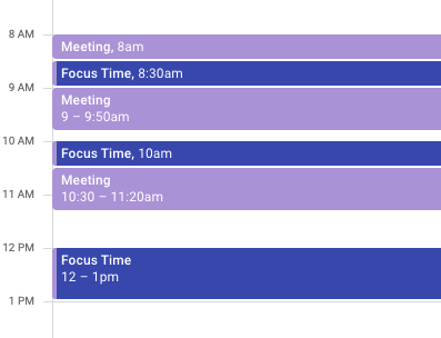 This calendar is not so ideal because it breaks apart meetings with focus time versus chunking focus time together.