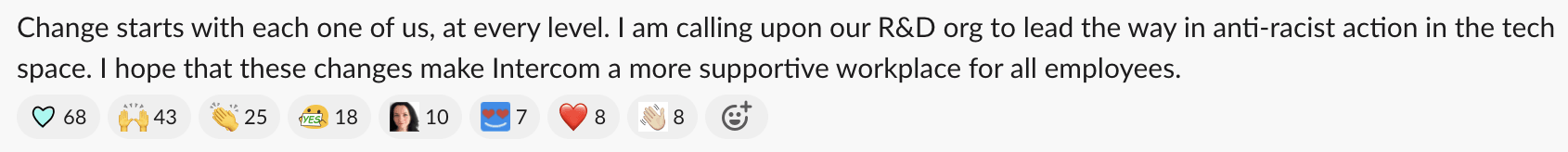 A snippet of the open letter Sam sent to our R&D Slack channel.