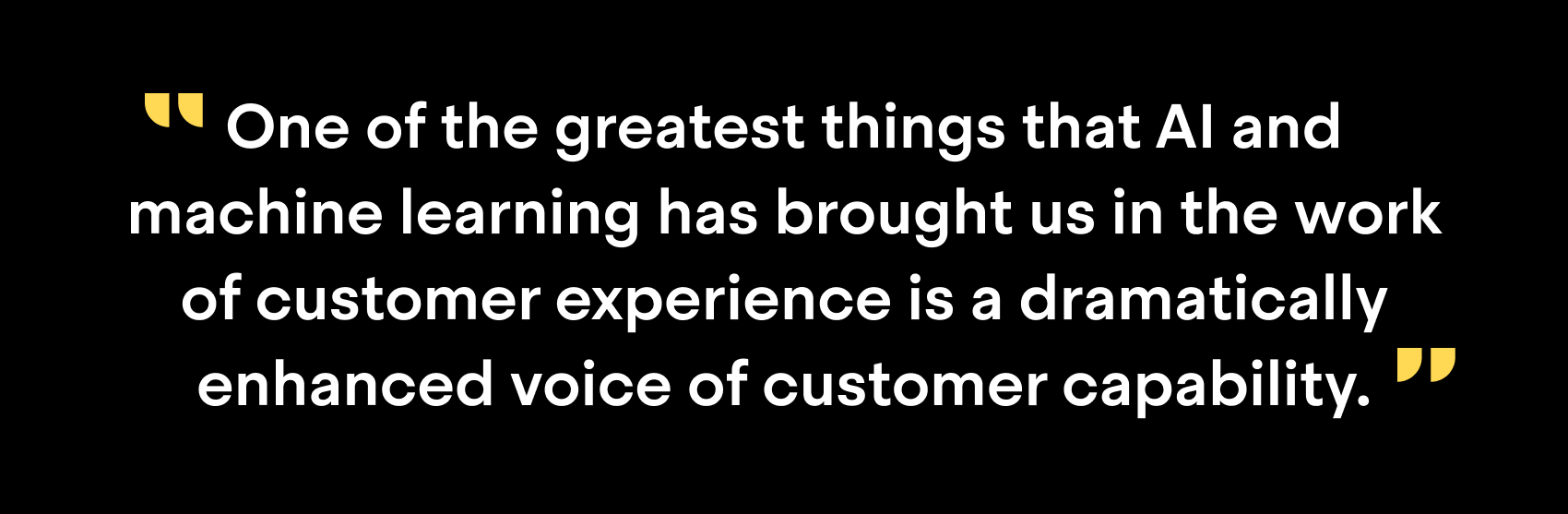 """One of the greatest things that AI and machine learning has brought us in the work of customer experience is a dramatically enhanced voice of customer capacity"""