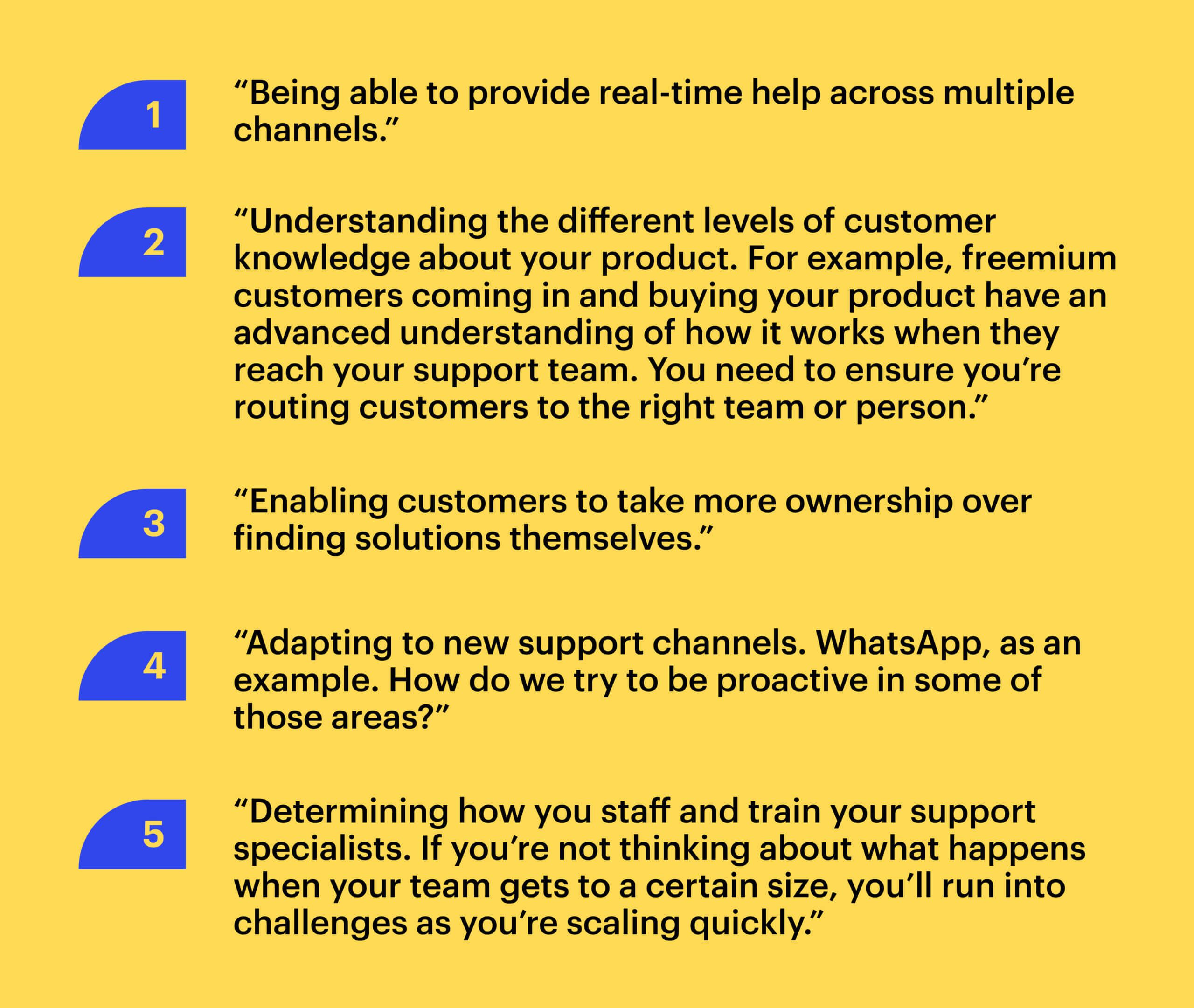 """Quote from Jean-Bernard Baptiste: """"1. """"Being able to provide real-time help across multiple channels."""" 2. """"Understanding the different levels of customer knowledge about your product. For example, freemium customers coming in and buying your product have an advanced understanding of how it works when they reach your support team. You need to ensure you're routing customers to the right team or person."""" 3. """"Enabling customers to take more ownership over finding solutions themselves."""" 4. """"Adapting to new support channels. WhatsApp, as an example. How do we try to be proactive in some of those areas?"""" 5. """"Determining how you staff and train your support specialists. If you're not thinking about what happens when your team gets to a certain size, you'll run into challenges as you're scaling quickly."""""""