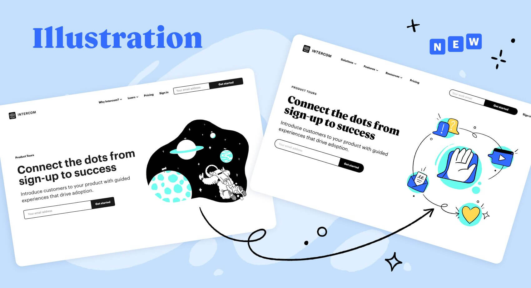 How our illustration style has changed.