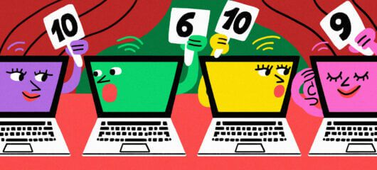 Illustrated artwork showing laptops (yes laptops) in conversation with each other and holding up numerical rating cards