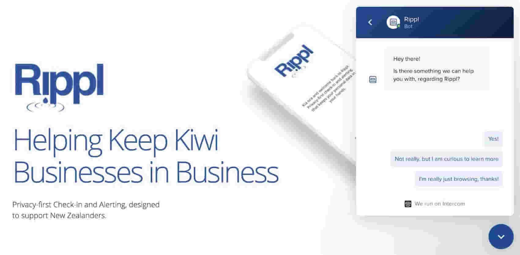 Rippl homepage with Intercom Messenger